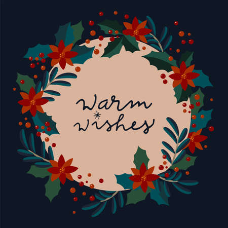 Warm Wishes. Vintage winter holidays calligraphic card. Merry Christmas vintage artistic greeting card