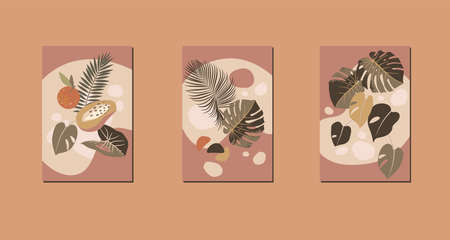 Mid century boho style fruit home decor. Modern abstract compositions. Contemporary tropical minimalist prints. Nursery home decoration, wall art in neutral terracotta colors, earth tones. Vector Stock Illustratie