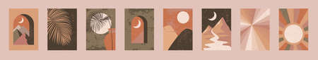 Minimalist wall art. Abstract landscapes for boho esthetic interior. Home decor wall prints. Burnt orange, terracotta colors, mustard hues. Sun and moon. Contemporary artistic printable illustration
