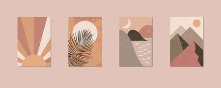Minimalist wall art. Abstract landscapes for boho esthetic interior. Home decor wall prints. Soft pink, terracotta colors with mustard hues. Sun and moon. Contemporary artistic EPS 10 printable vector