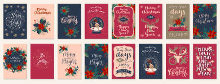Set of Merry Christmas and Happy New Year vintage hand drawn greeting cards, gift tags, postcards, posters. Calligraphic typography artwork illustration