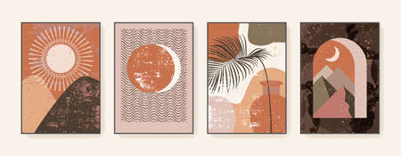 Minimalist wall art. Abstract landscapes for boho aesthetic interior. Geometric home decor wall prints. Burnt orange, terracotta, mustard hues. Sun and moon. Contemporary artistic printable vector