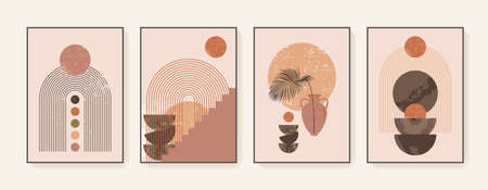 Minimalist wall art. Abstract geometric prints for boho aesthetic interior. Home decor wall prints. Burnt orange, terracotta colors. Sun, rainbow and clay pots. Contemporary artistic prints