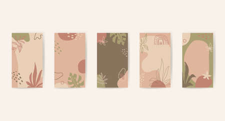 Editable abstract artistic floral story templates for social media marketing, phone screen proportions. Retro vintage fluid organic shapes in neutral colors. Insta stories templates with copy space