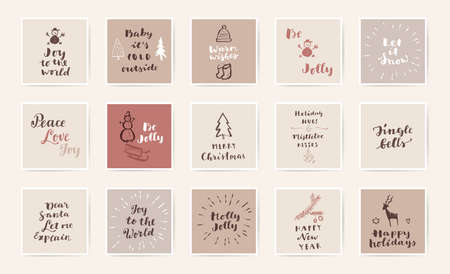 Set of Merry Christmas and Happy New Year hand colorful drawn Mid Century Modern style vintage calligraphic cards with hand lettering