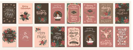 Set of Merry Christmas and Happy Holidays vintage hand drawn greeting cards, gift tags, postcards, posters. Calligraphic typography artwork illustration Stock Illustratie