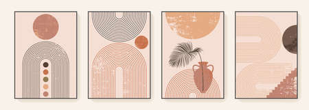 Minimalist wall art. Abstract geometric prints for boho aesthetic interior. Home decor wall prints. Burnt orange, terracotta colors. Abstract sun and rainbow. Contemporary artistic prints