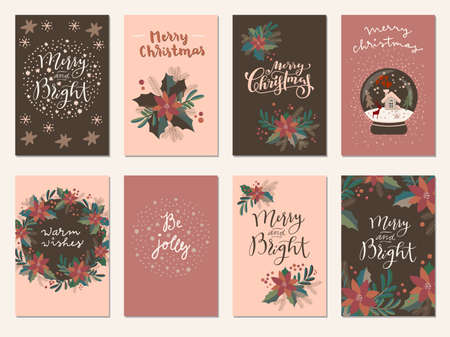 Set of Merry Christmas and Happy Holidays vintage hand drawn greeting cards, gift tags, postcards, posters in terracotta colors. Calligraphic typography artwork artwork illustration