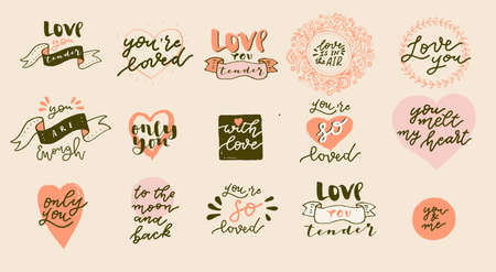 Set of Boho Love hand drawn logos. Valentines Day quotes for Bohemian style badges, postcards, photo overlays, greeting cards, T-shirts, prints in retro style. Vintage calligraphic illustration