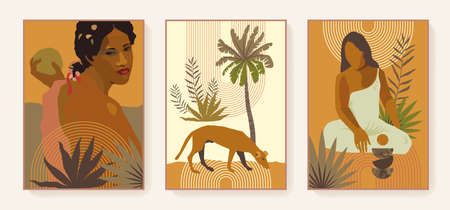 Boho style triptych. Exotic prints. French Polynesia Tahiti culture. Bohemian tropical feminine posters. Gauguin inspired boho wall art home decor. Earth tones terracotta colors wall prints