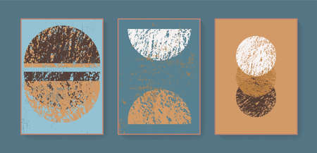 Boho triptych wall art home decor prints. Bohemian style abstract geometric cards. Minimal hand drawn artistic home decor. Earth tones blue mustard colors printable wall posters, covers