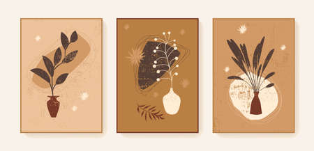 Boho triptych wall decor prints. Bohemian style abstract botanical cards. Printable artistic boho style wall art plant home decor. Earth tones brown neutral colors elegant posters, covers Stock Illustratie