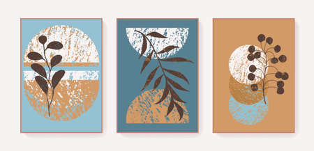 Boho triptych wall decor prints. Bohemian style abstract botanical posters. Unique artistic boho style wall art home decor. Earth tones blue mustard neutral colors. Elegant wall prints triptych Stock Illustratie