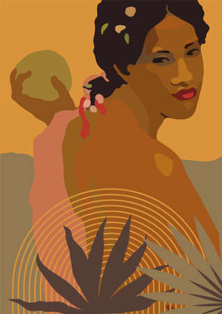 Vector boho style exotic black woman print. French Polynesia Tahiti culture. Bohemian tropical feminine poster. Gauguin inspired boho wall art home decor. Warm colors wall print