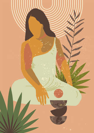 Vector boho style sitting woman print. French Polynesia Tahiti culture. Bohemian exotic tropical feminine poster. Gauguin inspired boho wall art home decor. Neutral colors wall print Stock Illustratie
