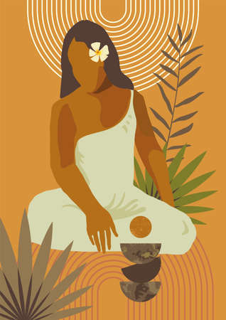 Exotic sitting woman print. Spa wellness resort retreat skin care poster. French Polynesia Tahiti culture. Bohemian tropical feminine Gauguin inspired boho wall art home decor print. Warm colors art
