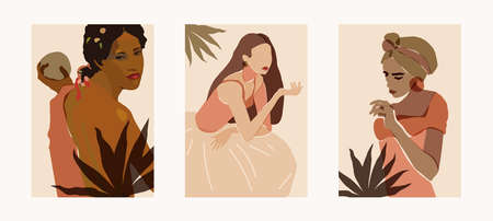 Minimal feminine wall art triptych. Beautiful lady portrait illustration. Neutral earth tone terracotta colors boho style wall decor. Multiracial diversity mid century modern ethnic boho prints
