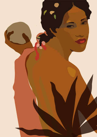 Artistic minimal feminine wall art. Beautiful lady portrait illustration in neutral earth tone terracotta colors.