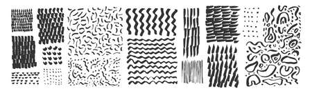 Vector hand drawn textures. Uneven natural hand-crafted lines, curved shapes, dots, daubs, smears, undulating waves, fluid shapes, patterns, organic details, brush strokes. Organic design elements