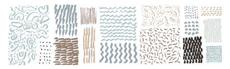 Set of hand drawn textures. Uneven natural hand-crafted lines, curved shapes, dots, daubs, smears, undulating waves, fluid shapes, patterns, organic details, brush strokes. Organic design elements Ilustracja