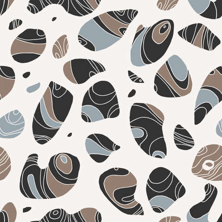 Pebbles seamless pattern. Hand drawn stones repeat. Natural organic lines, waves. Neutral earthy colors background. Zen spa relaxation beach pebble backdrop. Trendy curves endless texture illustration Ilustracja