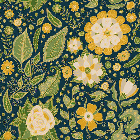 Artistic seamless pattern. Hand drawn luxurious floral repeat background. Greenery, flowers seamless texture. Wallpaper, upholstery, fabric design illustration