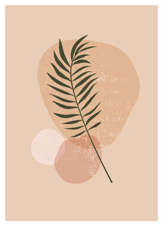 Boho aesthetic abstract botanical wall art poster print. Scandinavian cover design, neutral natural colors. Bohemian collage wall print. Mid Century Modern design. Plant fruit posters art illustration