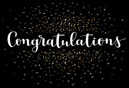 Congratulations card with abstract falling golden confetti amazing graduation congrats design. Modern calligraphy, hand lettering white congratulations word on black background and gold shiny confetti