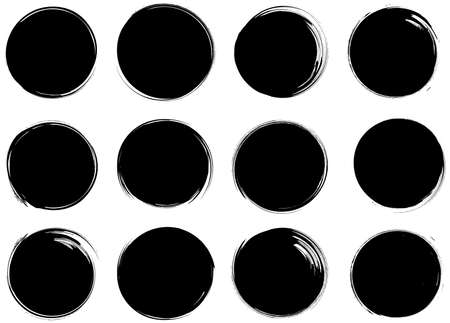 Ink brush circles sales banner set. Collection of Oriental isolated hand drawn artistic design elements for sale promotion, social media advertizing, covers, posters, flyers