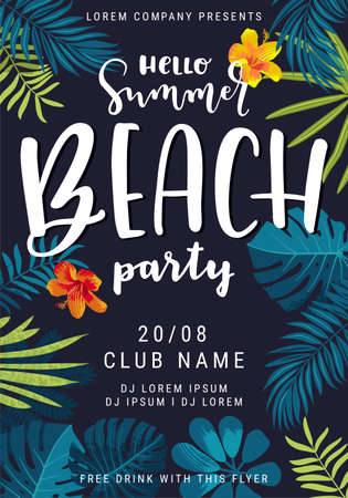 Hello Summer Beach Party beautiful jungle exotic leaves flyer, poster, banner template. Modern calligraphy summer design. Monstera, hibiscus flower, tropical plants. Summertime Goa party illustration Ilustrace