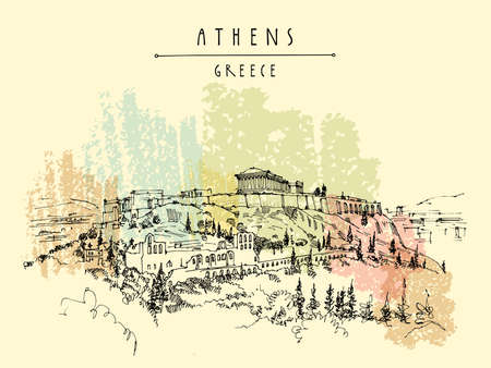 Parthenon temple and the Acropolis hill in Athens, Greece. Hand drawing in retro style. Travel sketch. Vintage touristic postcard, poster, calendar or book illustration Ilustrace