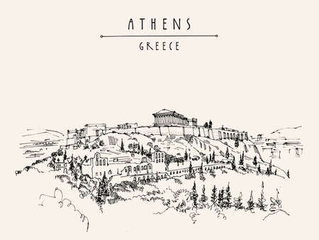 Athens, Greece. Parthenon temple and the Acropolis hill drawing postcard. Retro style and drawing. Travel sketch. Vintage touristic Greece postcard, Athens poster, calendar, book illustration Ilustrace
