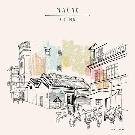 Macao retro postcard. Chinese Kuan Tai (Sam Kai Vui Kun) temple. Old town historical center. Macau (Macao), China, Asia. Artistic drawing. Asian travel sketch. Vintage hand drawn postcard, poster
