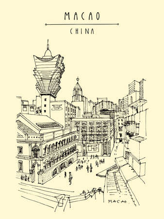 Macao postcard. Upper view of old town. Macau (Macao), China, Asia is a gambling capital. Traditional Portuguese buildings, skyscrapers, casinos. Vintage hand drawn postcard