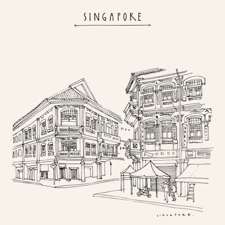 Singapore touristic vacation guide illustration. Singapore cityscape, old town retro poster. Artistic  travel sketch. Hand drawn vintage touristic postcard, poster, booklet illustration