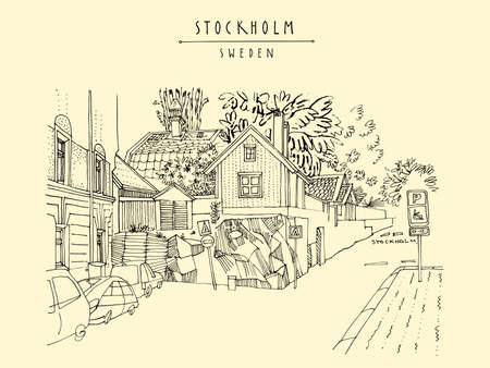 Stockholm postcard. Street in Stockholm, Sweden, Scandinavia, Europe. House on the rock, car parking. Retro style artistic Swedish travel sketch. Vintage touristic postcard, poster, book illustration