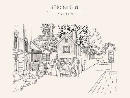 Stockholm postcard. Street in Stockholm, Sweden, Scandinavia, Europe. House on the rock, car parking. Retro style artistic Swedish travel sketch. Vintage touristic postcard, poster, book illustration