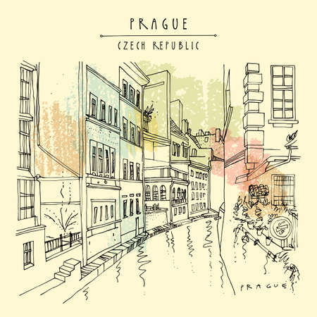 Prague postcard. Prague, Czech Republic, Europe. Canal in the old town. Travel sketch drawing. Hand drawn vintage touristic postcard, poster, book or calendar illustration Stock Illustratie