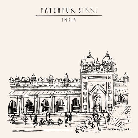 Fatehpur Sikri postcard. Agra District of Uttar Pradesh, India. Shahi Darwaza of the Jama Masjid mosque. Historical landmark sketch. Vintage hand drawn travel postcard 向量圖像