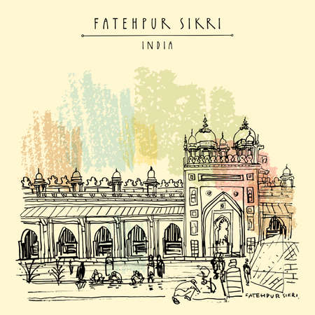 Fatehpur Sikri postcard. Agra District of Uttar Pradesh, India. Shahi Darwaza of the Jama Masjid mosque. Heritage building travel sketch. Vintage hand drawn travel postcard