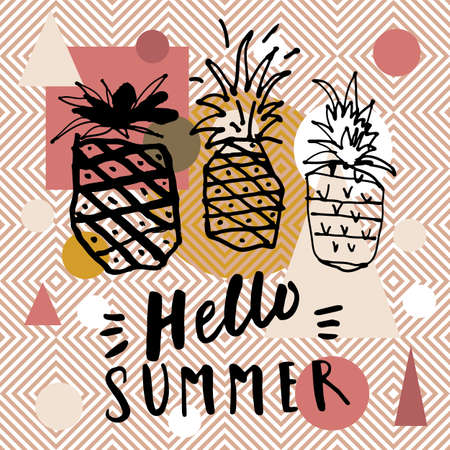 Hello Summer Party social media post template. Earthy colors modern calligraphic card with hand drawn pineapples. Abstract geometric background. Boho style hello summer hand lettering 向量圖像