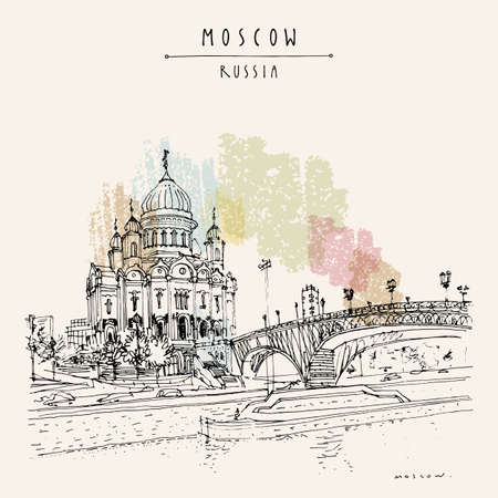 Moscow postcard. Christ the Savior Cathedral and the Patriarchal bridge in Moscow, Russia. Artistic travel sketch. Vintage hand drawn touristic postcard, poster, brochure illustration