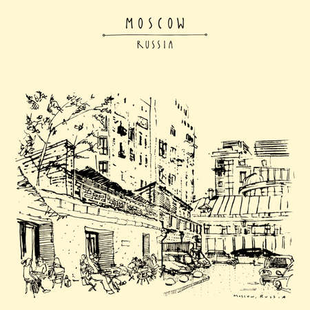 Moscow city postcard. A cozy downtown cafe. People sitting on summer terrace in Moscow, Russia. Artistic travel sketch. Vintage hand drawn touristic art postcard, poster, brochure illustration