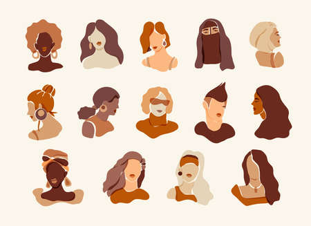 Set of women portraits. Minimal aesthetic female avatars for social media networks. Flat style neutral colors diverse women faces collection. Different skin tones and hairstyle cartoon icons for web 向量圖像