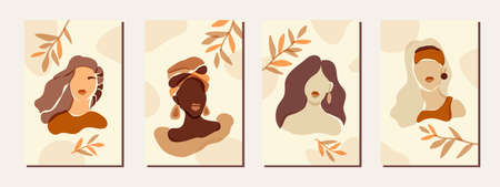Female portrait posters wall art home decor. Boho aesthetics set. Minimalist female faces. Paper cut style diverse skin tones and hairstyle glamor feminine bohemian women in soft brown neutral colors