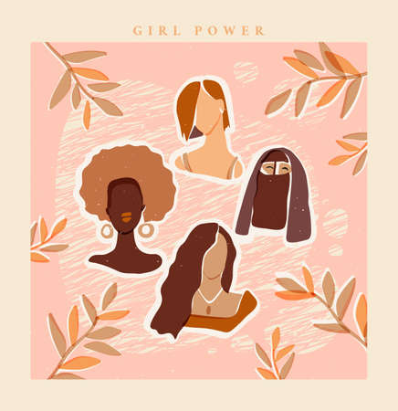Girl power abstract women sisterhood poster. Boho style diversity postcard. Four women of different ethnicity respect and support each other. All lives matter female friendship feminism concept