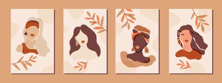 Collection of modern feminist prints. Minimalist female faces print set. Boho aesthetic neutral female portrait posters. Diverse bohemian women. Beauty salon or home decor in rust neutral colors