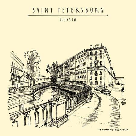 Saint Petersburg, Russia postcard. Sennoy bridge. Historical buildings in city center. Dostoyevsky heritage place. Travel sketch. Hand drawn vintage touristic poster, book illustration 向量圖像