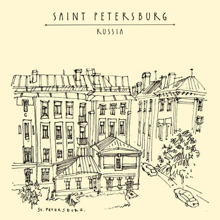 Saint Petersburg, Russia. Historical buildings in city center. Architecture drawing. Travel sketch, vintage hand drawn postcard