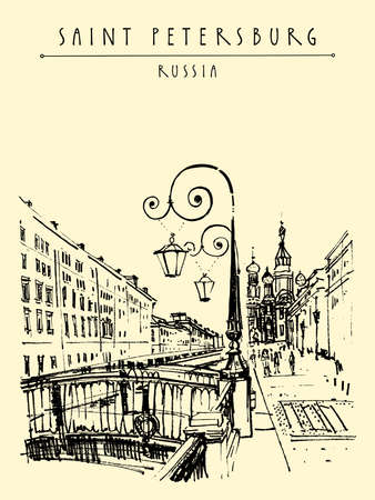 Saint Petersburg, Russia postcard. The Church of the Savior on Spilled Blood (Cathedral of the Resurrection). Historical buildings travel sketch. Hand drawn illustration 向量圖像